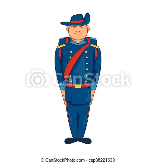 Man in a blue army uniform 19th century icon - csp38221630