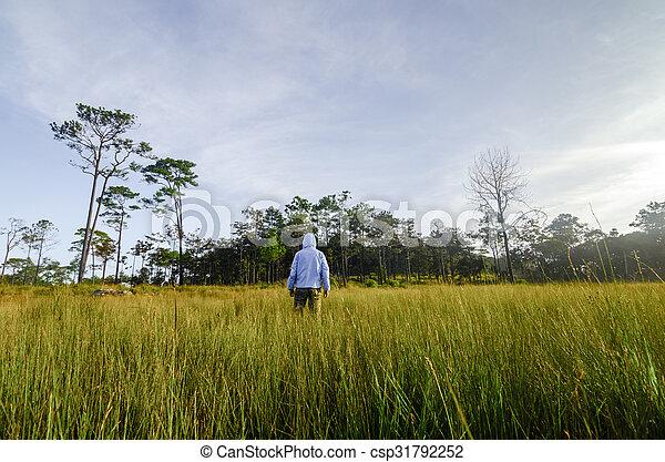 Man in a green field - csp31792252