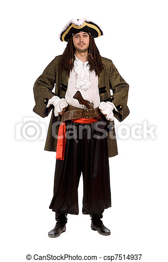 man in a pirate costume with pistol. Isolated - csp7514937