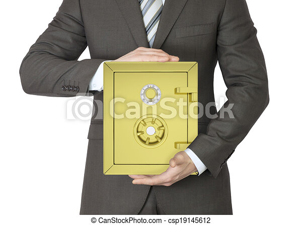 Man in a suit holding gold safe - csp19145612