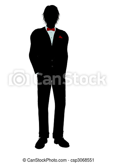 Man in a Tuxedo Silhouette - csp3068551