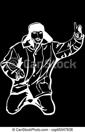 87dd3fbf12b Black and white vector sketch man in a winter hat raised a finger to ...
