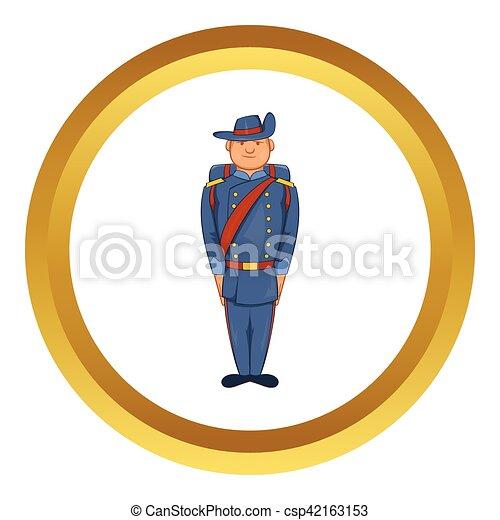 Man in army uniform 19th century vector icon - csp42163153