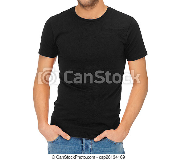 man in blank black t-shirt - csp26134169