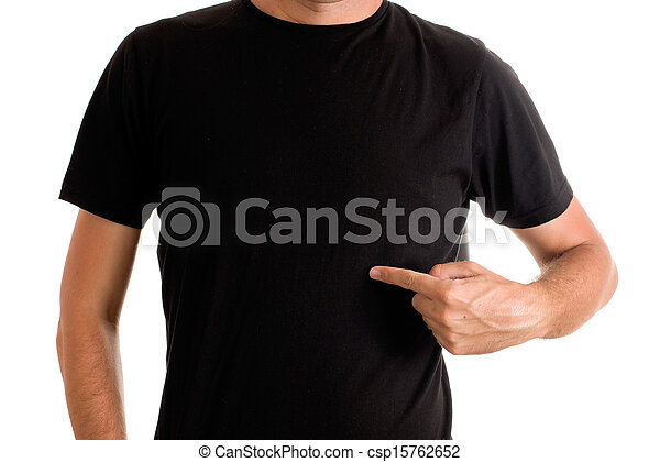 Man in blank black t-shirt - csp15762652