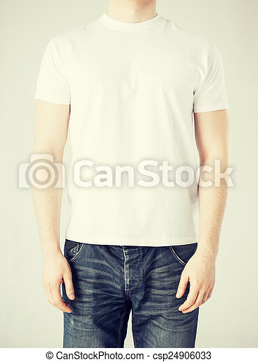man in blank t-shirt - csp24906033