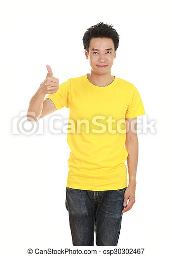 man in blank t-shirt with thumbs up - csp30302467