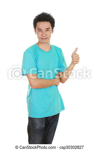 man in blank t-shirt with thumbs up - csp30302827