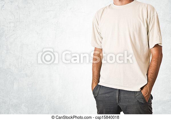 Man in blank white t-shirt - csp15840018