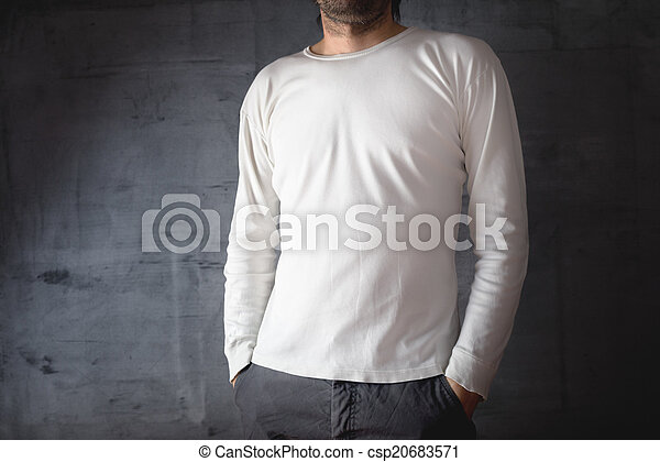 Man in blank white t-shirt - csp20683571