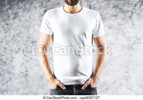 Man in blank white t-shirt - csp49357127