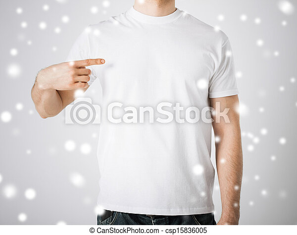 man in blank white t-shirt - csp15836005