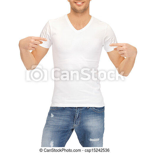 man in blank white t-shirt - csp15242536