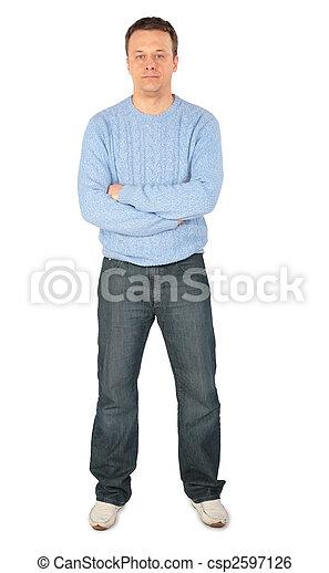 man in blue sweater - csp2597126