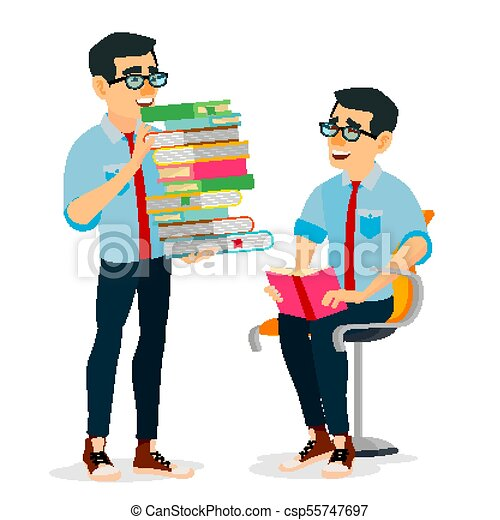 Man In Book Club Vector. Carrying Large Stack Of Books. Studying Student. Library, Academic, School, University Concept. Isolated Flat Cartoon Illustration - csp55747697
