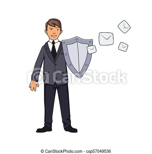 Man in business suit protecting himself with a shield from unwanted mail. Spam, antispam protection. Concept vector illustration. Isolated on white background. Flat style. - csp57049536