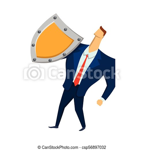 Man in business suit with a shield looking up. Security and protection. Protecting your personal data. GDPR, RGPD, DSGVO. General Data Protection Regulation. Vector concept illustration. Flat style. - csp56897032