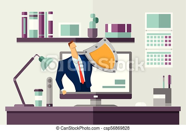 Man in business suit with a shield protecting computer on office desk. Protecting your personal data. GDPR, RGPD. General Data Protection Regulation. Flat vector concept illustration. Horizontal. - csp56869828
