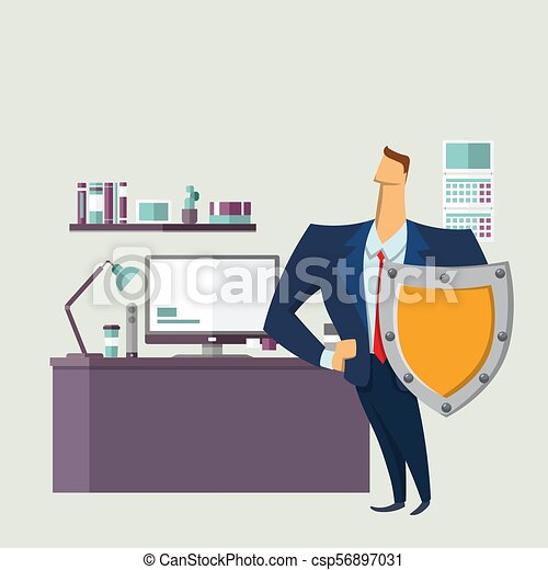 Man in business suit with a shield in front of computer desk. Protecting your personal data. GDPR, RGPD, DSGVO. General Data Protection Regulation. Vector concept illustration. Flat style. - csp56897031