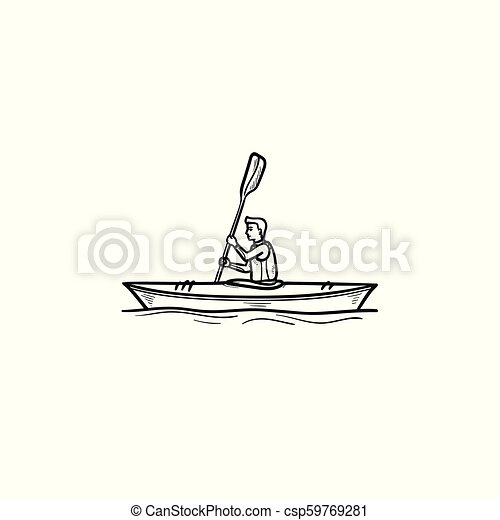 Man in canoe hand drawn outline doodle icon