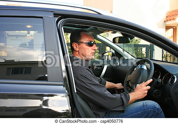 Man in car - csp4050776