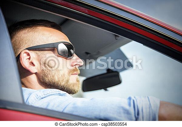 Man in car. - csp38503554