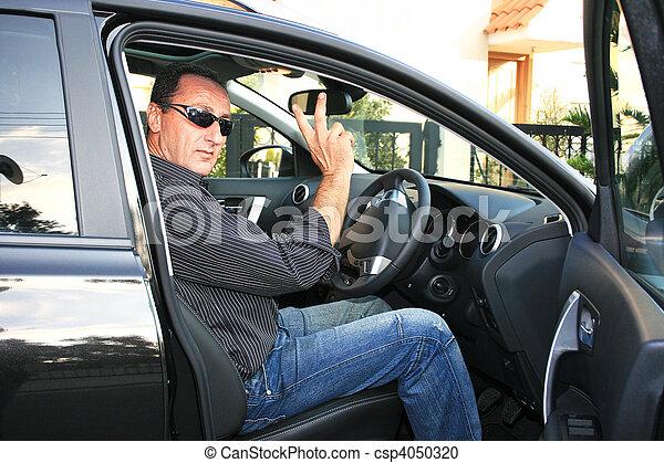 Man in car - csp4050320