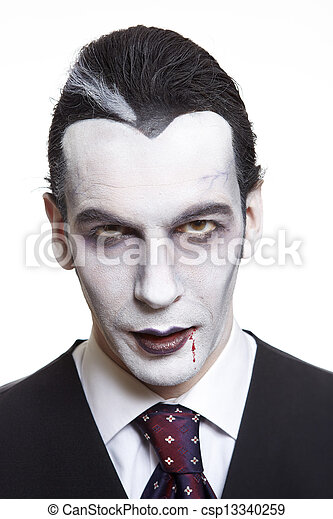 Man in dracula fancy dress costume - csp13340259