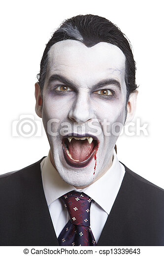Man in dracula fancy dress costume - csp13339643