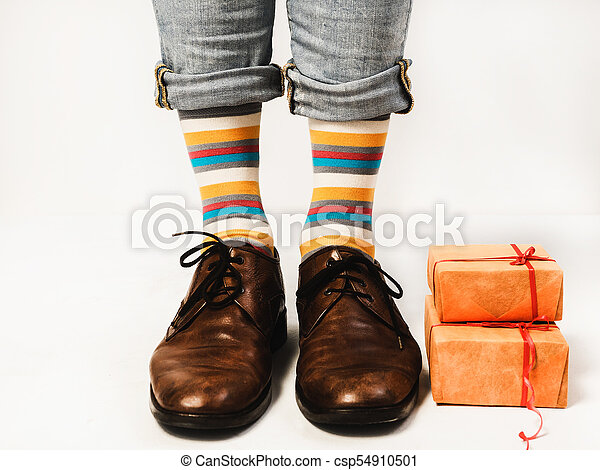 Man In Funny Socks And Stylish Shoes Handsome Man In Funny Socks