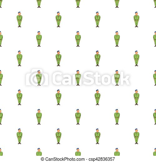 Man in green army uniform and blue beret pattern - csp42836357