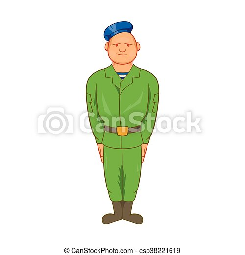 Man in green army uniform and blue beret icon - csp38221619