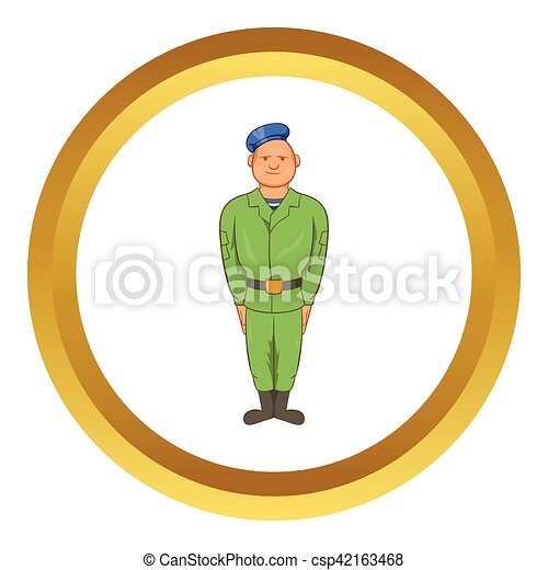 Man in green army uniform vector icon - csp42163468