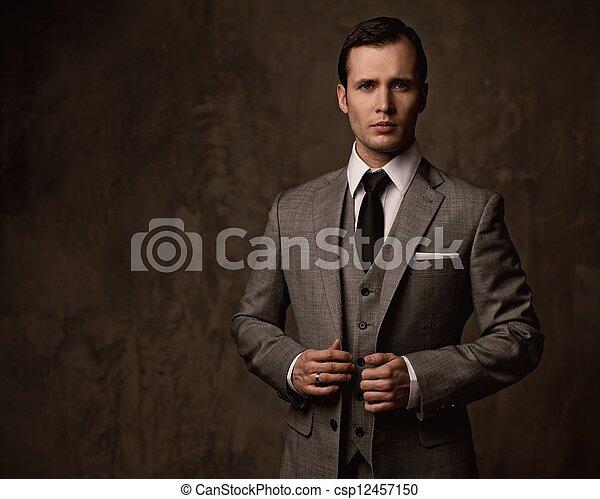 Man in grey suit. - csp12457150