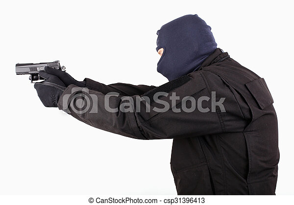 man in mask with a gun on white background - csp31396413