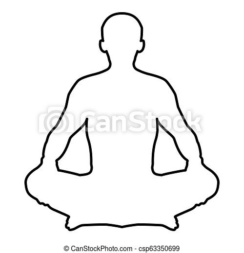 Man In Pose Lotus Yoga Pose Meditation Position Silhouette Asana Icon Black Color Illustration Outline Man In Pose Lotus