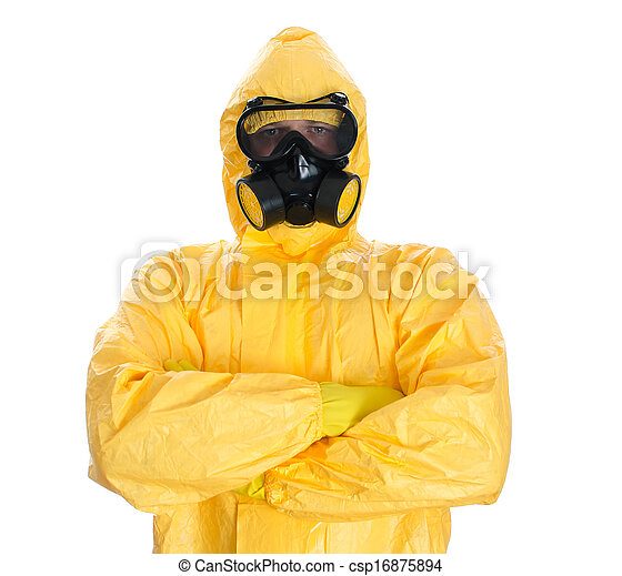 Man in protective hazmat suit. Isolated on white. - csp16875894