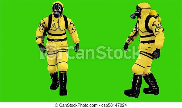 Man in protective hazmat walking on green screen background  3D rendering