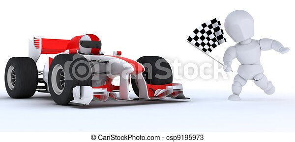 Man in Race car winning at checkered flag - csp9195973