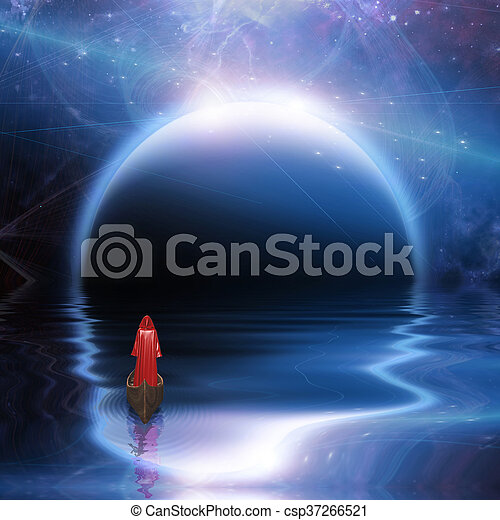 Man in red robe floating to blue planet - csp37266521