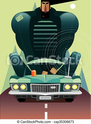 Man in retro car on the road - csp35306673