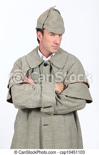 Man in Sherlock Holmes outfit - csp10451103