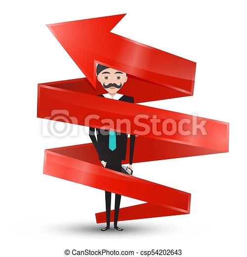 Man in Suit Inside Red Arrow - csp54202643
