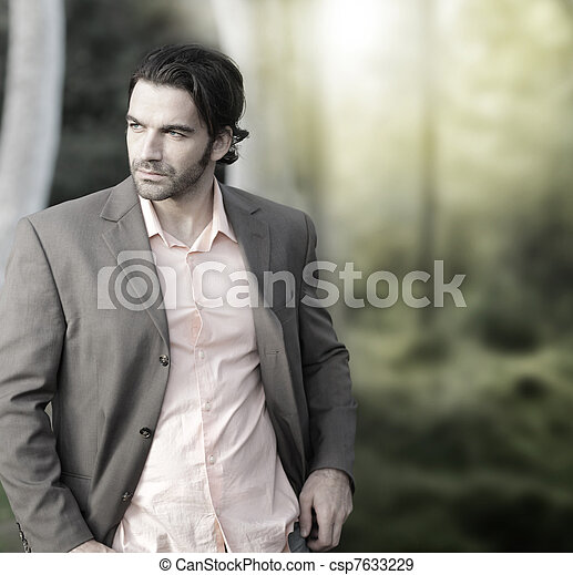 Man in suit outside - csp7633229