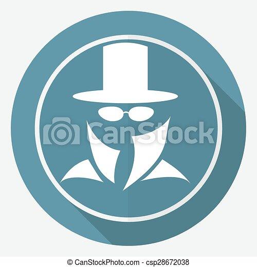 Man in suit. Secret service agent icon a long shadow - csp28672038