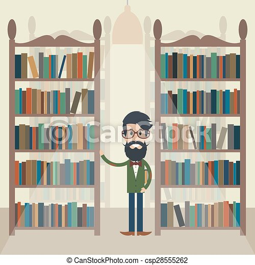 Man in the library. - csp28555262