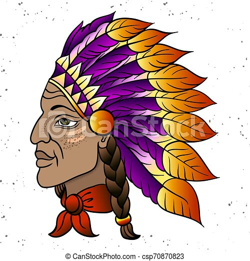 Man in the Native American Indian chief. Black roach. Indian feather headdress of eagle. Hand draw vector illustration - csp70870823