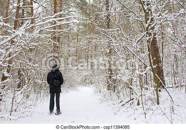 man in the winter forest - csp11394085