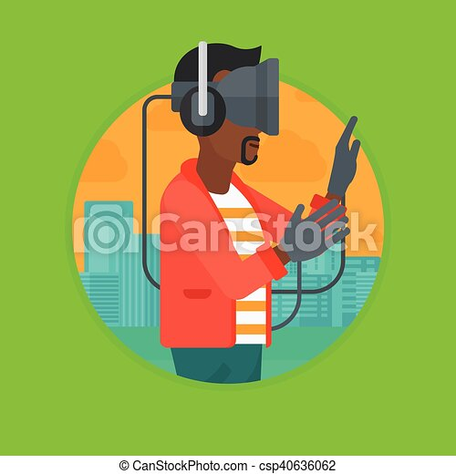 aa6f870f1996 Man in virtual reality headset playing video game. An african ...