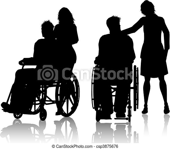 Man in wheelchair with woman - csp3875676